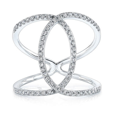 14K White Gold Diamond Intertwined Circle Ring