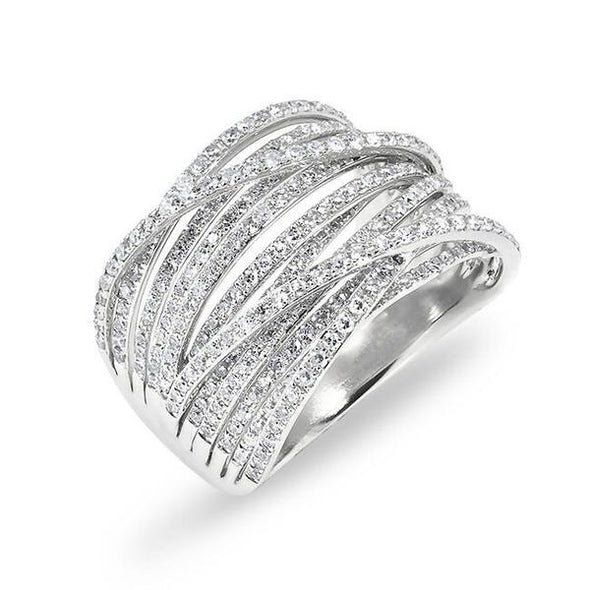 Platinum Diamond Multi CrossOver Ring
