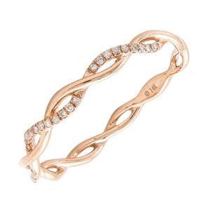 14K Rose Gold Diamond Twisted Band