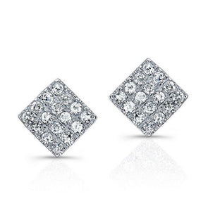 14K White Gold Diamond Pave Mini Square Earrings