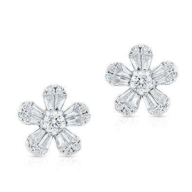 14K White Gold Diamond Flower Stud Earrings (Small)
