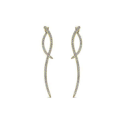 14K Yellow Gold Diamond Double Drop Earrings