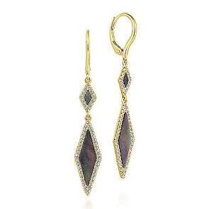 14K Yellow Gold Diamond + Black Mother of Pearl Drop Earrings