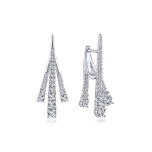 18K White Gold Diamond Tapered Front & Back Drop Earrings
