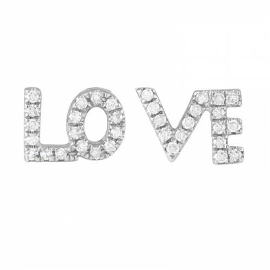 14K White Gold Diamond LOVE Earrings