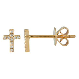 14K Yellow Gold Diamond Mini Cross Stud Earrings