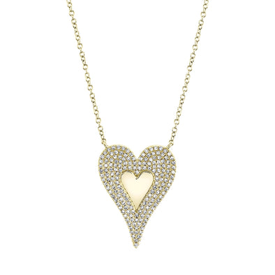14K Yellow Gold Diamond Large Heart Polished Necklace