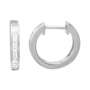 14K White Gold Baguette Diamond Huggie Earrings
