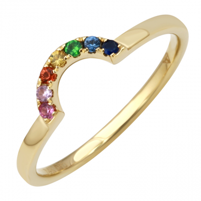 14K Yellow Gold Multi Color Sapphire Rainbow Ring