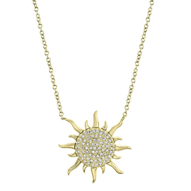14K Yellow Gold Diamond Sun Necklace