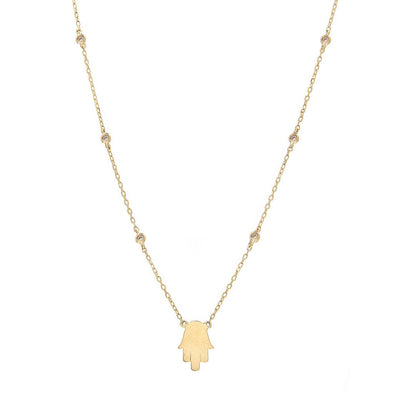 14K Yellow Gold Diamond By the Yard + Hand of God Necklace