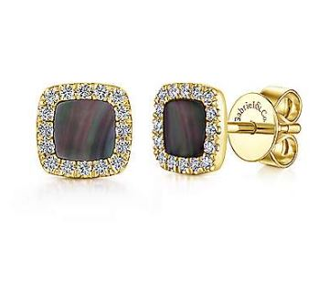 14K Yellow Gold Diamond + Black Mother of Pearl Square Stud Earrings