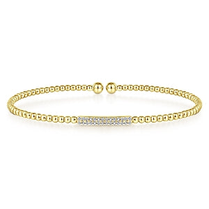 14K Yellow Gold Diamond Beaded Open Bangle