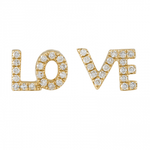 14K Yellow Gold Diamond LOVE Earrings