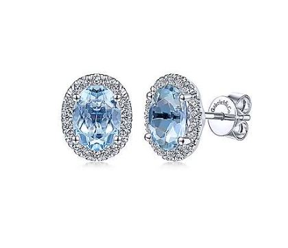 14K White Gold Diamond Halo + Oval Aquamarine Earrings