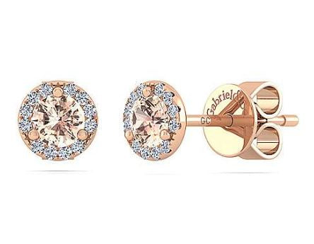 14K Rose Gold Diamond + Morganite Stud Earrings