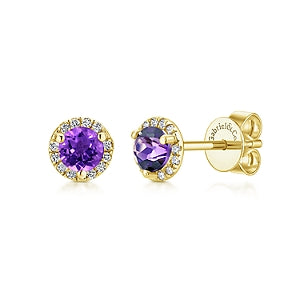 14K Yellow Gold Diamond + Amethyst Stud Earrings
