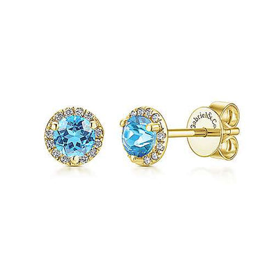 14K Yellow Gold Diamond + Blue Topaz Stud Earrings