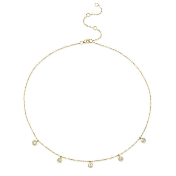 14K Yellow Gold Diamond Pave Disc Dangle Necklace