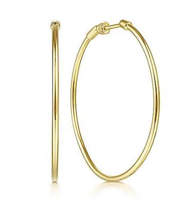 14K Yellow Gold 40mm Plain Round Classic Hoops