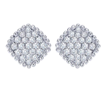 14K White Gold Diamond Bombay Stud Earrings