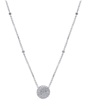 14K White Gold Diamond By The Yard + Pave Pendant