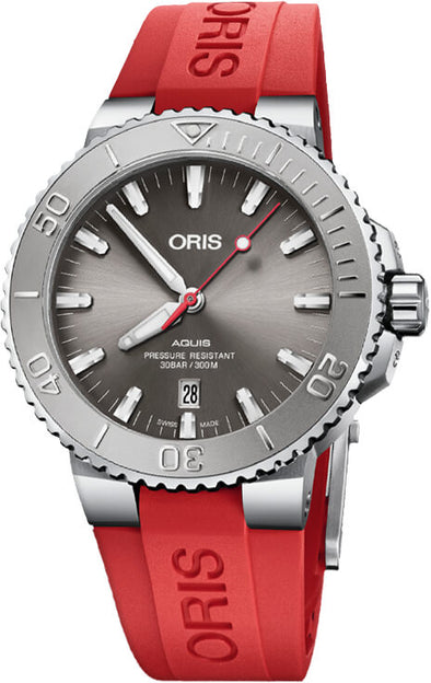 Oris Aquis Date Relief 43.5Mm, Grey Dial, Caoutchouc Red Strap