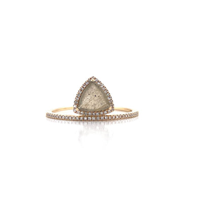 14K Yellow Gold Diamond Trapezoid Labradorite Ring