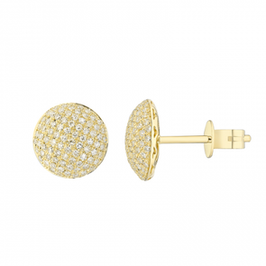 14K Yellow Gold Diamond Disc Earrings Earrings