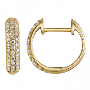 14K Yellow Gold Diamond Pave Huggie Earrings
