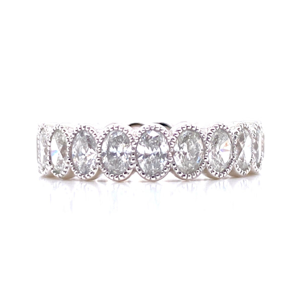 14K White Gold Oval Diamond Milgrain Eternity Band