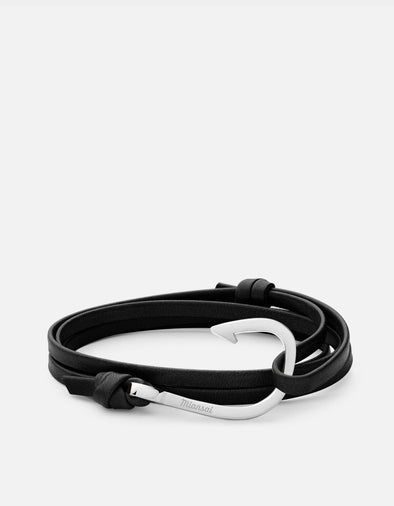 Polished Silver Stainless Steel Hook On Black Leather Bracelet