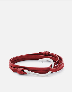 Polished Sterling Silver Anchor On Red Wrap Leather Bracelet