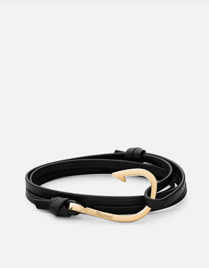 Polished Gold Plated Stainless Steel Hook On Dusk Leather Bracelet,