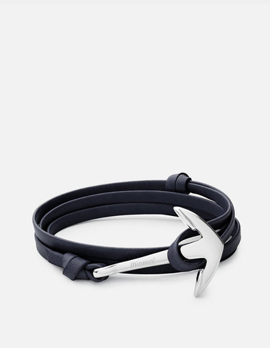 Polished Silver Anchor On Navy Blue Wrap Leather Bracelet