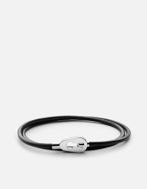 Centra Leather Wrap Bracelet, Sterling Silver