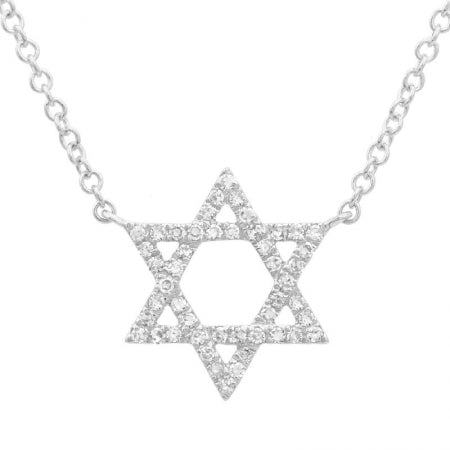 14K Star Of David Diamond Necklace