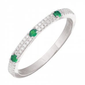 14K White Gold Diamond + Green Gemstone Ring