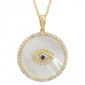14k Yellow Gold Evil Eye Gemstone Pendant With Chain