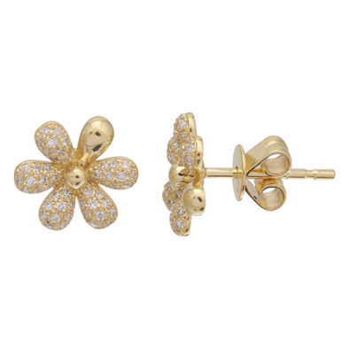 14k Yellow Gold Flower Diamond Earrings