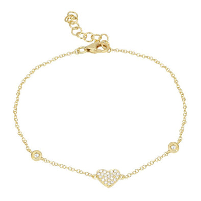 14K Yellow Gold Diamond Heart Bezel Bracelet