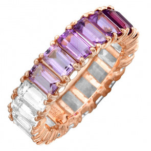14k Rose Gold Purple Ombre Gemstone Ring