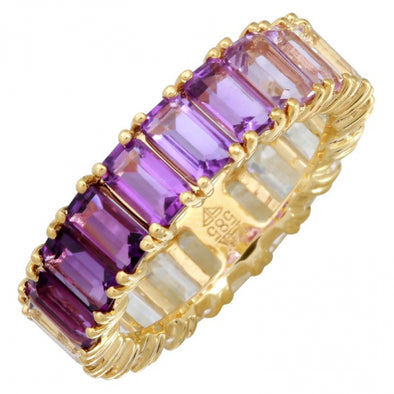 14K Yellow Gold Ombre Gemstone Ring
