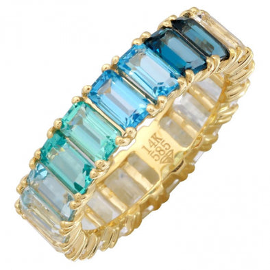 14K Yellow Gold Blue Ombre Gemstone Ring