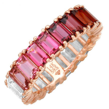 14k Rose Gold Pink Ombre Gemstone Ring