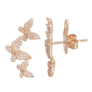 14K Rose Gold Triple Butterfly Diamond Earrings