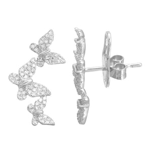14K White Gold Triple Butterfly Diamond Earrings