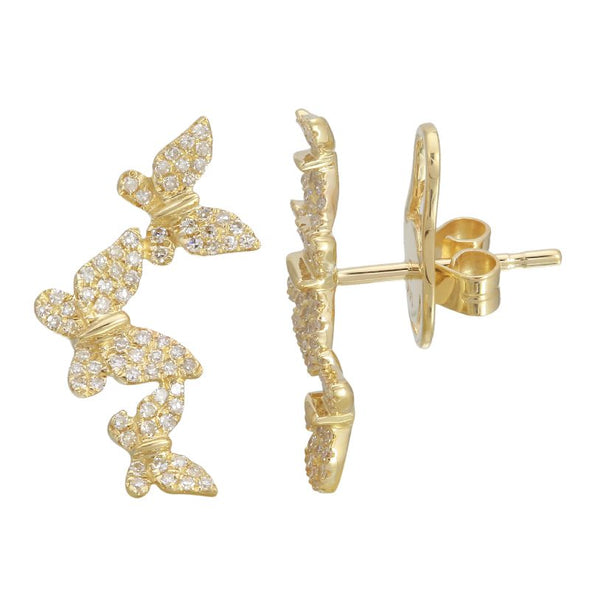 14K Yellow Gold Triple Butterfly Diamond Earrings