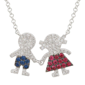 14k White Gold Multi Gemstone Boy And Girl Necklace