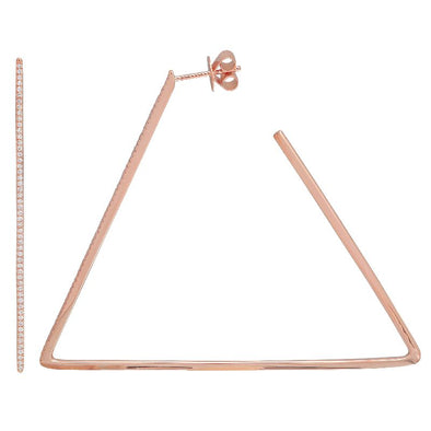 14K Rose Gold Triangle Diamond Hoop Earrings